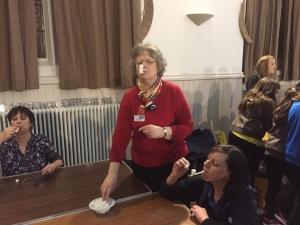 Trefoil Chairperson, Edith Shedden, and County Commissioner, Helen Shedden, get competitve in a game of 'Stack the Sugar Cubes'