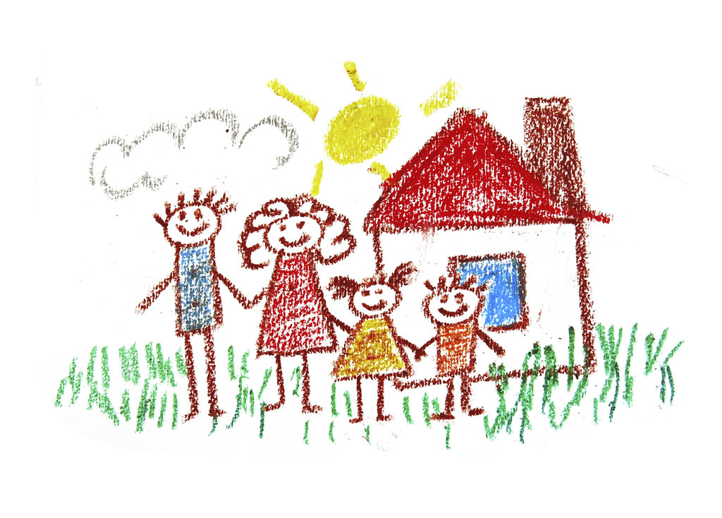 Happy family. Kids drawing